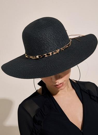 Morhipo Beach Aksesuarlı Leopar Şeritli Hasır Şapka Siyah